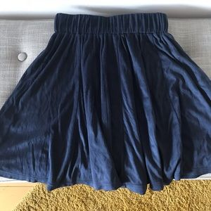 Navy Blue Faux Suede Skirt / S